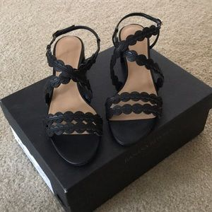 Banana Republic Black scalloped sandal.  NWT/box.